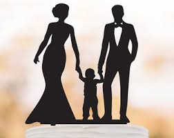 family wedding cake topper with boy bride and groom