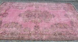 Pink Runner Rug Pink Overdyed Rug Stylish Pink Runner Rug Vintage Runner Rug Pink