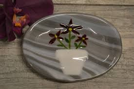 Kitchen Soap Dish Sponge Holder by Flowers In Flower Pot Soap Dish Fused Glass Spoon Rest Sponge