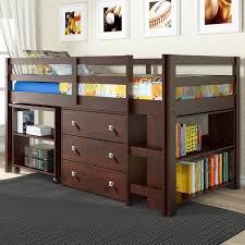 Small Two Shelf Bookcase Twin Loft Bed With Desk And Storage Dark Cappuccino Small