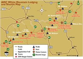 appalachian mountains on map amc white mountain hiking shuttle service section hikers