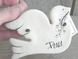 peace dove baptism gift salt dough ornament easter christening