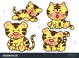 family tiger cartoon character design cute stock vector 661156060