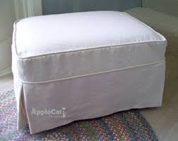 Slipcover Ottoman Ottoman Slipcover In Canvas Tailored Skirts And Welt Cord