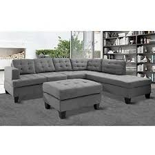 Reversible Sectional Sofa Chaise Merax 3 Piece Reversible Sectional Sofa With Chaise And Ottoman