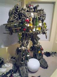 geek uses 1000 pounds of scrap metal to build robot that doubles