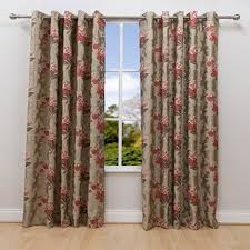 scatter box pasha floral embroidery lined eyelet curtains red