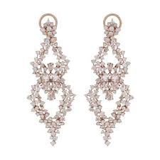 hanging earrings nigaam 18k gold morganite and diamond hanging earring