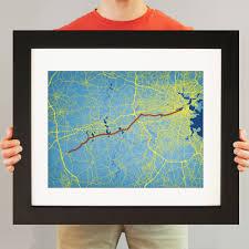 Map Of Boston Marathon Course by Boston Marathon Course Map Art City Prints