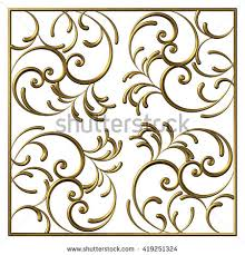 3d swirl floral design ornamental rectangular stock illustration