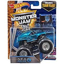 wheel monster jam trucks list amazon com wheels monster jam nea police blue with team flag 1