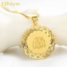 Islam Flag Aliexpress Com Buy Ethlyn Yellow Gold Color Allah Necklaces