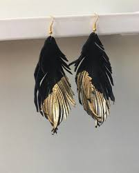 black feather earrings shopping s deal on black and gold genuine leather