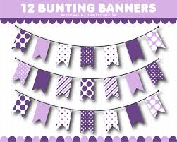 Flag Banner Clip Art Purple Bunting Banner Clipart In Triangle And Square Flags With