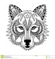 vector ornamental wolf ethnic zentangled mascot amulet mask