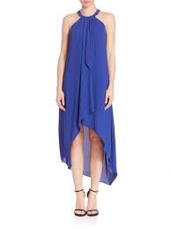 bcbgmaxazria lanna draped high low dress in blue lyst