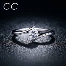 simple engagement ring simple design engagement ring white clear zirconia classic wedding