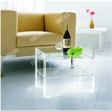 serving tray side table rectangular clear acrylic lucite side table w serving tray in