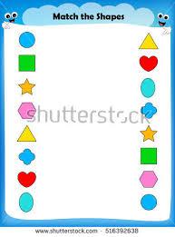 worksheet match similar shapes worksheet preschool stock vector