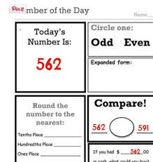 decimal fraction and number of the day worksheets