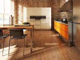 White Cabinets Kitchen Modern Kitchen Design With Wood Look Tile Floor Red Brick Walls