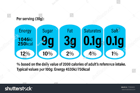 nutrition facts information label cereal box stock vector