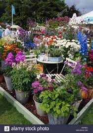 mixed display with ornamental garden furniture part of the floral