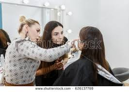 Professional Makeup Artist Schools Professional Makeup Teacher Training Her Student Stock Photo