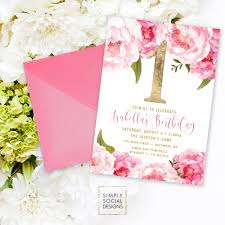 pink birthday invitations first birthday party invitation pink peony ranunculus and faux