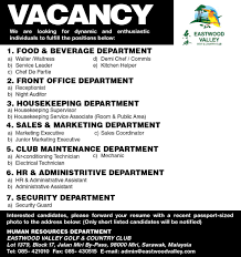 Best Resume For Kitchen Helper by Vacancy In Eastwood Valley Golf U0026 Country Club Jobs