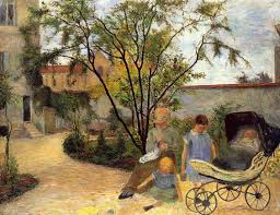 the monet family in their garden at argenteuil garden in rue carcel c 1883 paul gauguin wikiart org