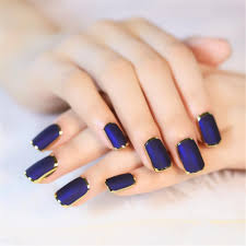 metal edging fake nails matte nail art tips salon french manicure