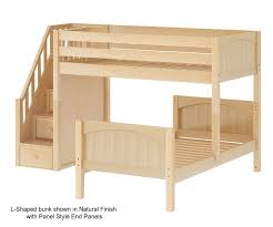 Maxtrix WANGLE Twin Size LShaped Bunk Bed With Stairs Bed - L shape bunk bed
