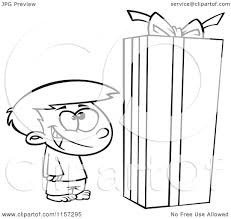 Christmas Gift Boxes Large Cartoon Clipart Of A Black And White Boy Standing By A Large