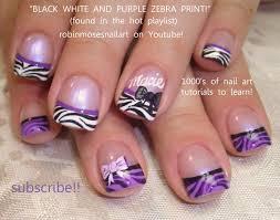 nail art designs purple black u0026 white zebra print nail art with bows
