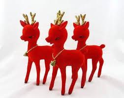 Glitter Reindeer Christmas Decorations by Red Flocked Reindeer Etsy