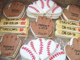 baseball themed wedding picture of baseball themed cookies