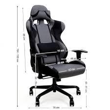 coussin de bureau fauteuil de bureau sport à hauteur réglable tissu gris noir avec