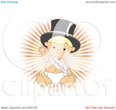 new year sash royalty free rf clipart illustration of a blond baby in a