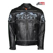 biker apparel reflective skulls crossover leather jacket biker apparel online