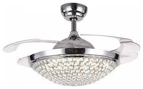 fan with retractable blades remix lighting modern 42 crystal led ceiling fan with ceiling fans