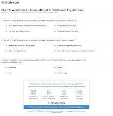 quiz worksheet translational rotational equilibrium study com