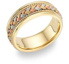 braided band 14k tri color gold braided wedding band jewelry