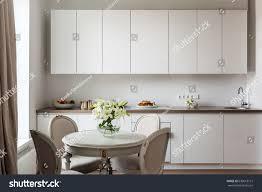 white scandinavian living room interior round stock photo
