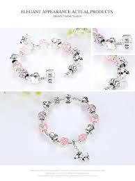 flower charm bracelet images Pink heart flower charm bracelet jpg