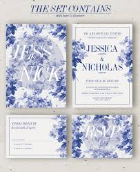 china blue wedding invitation template psd design download https