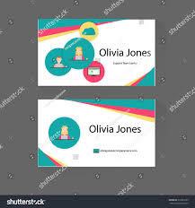 Business Cards Front And Back Business Card Trendy Flat Design Icons Stock Vector 313835669