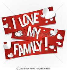 clip vector of i my family banners vector illustration