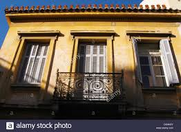 neoclassical houses in plaka the old town of athens greece stock