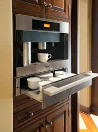 interesting coffee bar with wooden table and grey wall kitchen